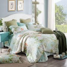 whole 100 luxury tencel silk satin bedding sets peacock erfly flower leaf duvet cover set bamboo fiber bed linen king queen size lodge bedding