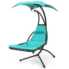 best choice s hanging chaise lounger chair air porch swing hammock canopy teal arc stand