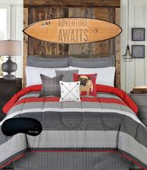 teen boys bedding modern striped rugby gray black red full comforter sheets bedskirt home style