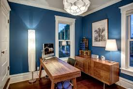 transitional office with royal blue walls royal home office decorating