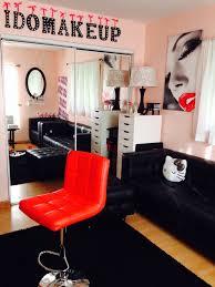 hanging sign idea for makeup studio elegant makeup glam room makeup organization makeup