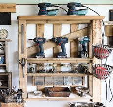 Shelves Made From Pallets Organize Your Tools On An Enhanced Pallet Shelffunky Junk Interiors