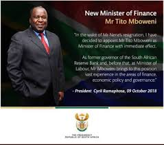 Gilad isaacs breaks down some of the relief measures announced by finance minister tito mboweni. South Africa Gets New Finance Minister Zambia Reports