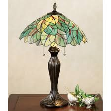 image of lush foliage stained glass lamps