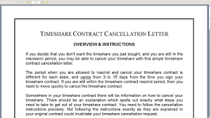 timeshare contract cancellation letter timeshare contract cancellation letter