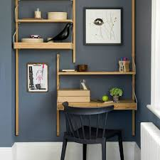 blue home office. Smart But Simple Blue Home Office With Wall-mounted Shelving
