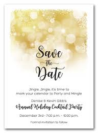 Christmas Party Save The Date Templates Snowflakes On Gold Holiday Save The Date