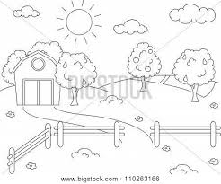rural landscape with barn corral fields and fruit trees coloring book