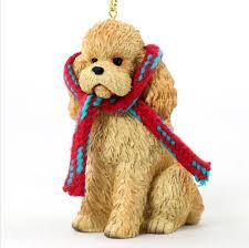 poodle dog ornament scarf figurine apricot sport cut