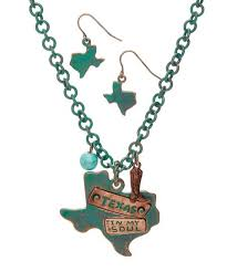 silvertone texas pendant necklace