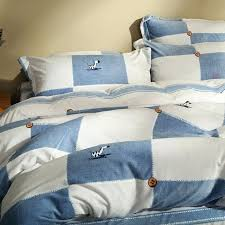 blue and white plaid flannel duvet cover set cartoon horse stripes fleece bed sheets grey