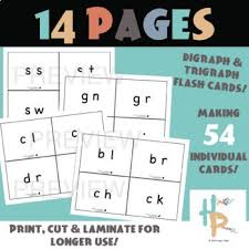 Beginning And Ending Digraph Trigraph Flash Cards With