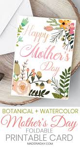 Print A Mother S Day Card Online Beautiful Botanical Foldable Mothers Day Card Printable Happy