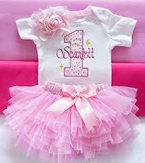 Amazoncom Baby Girl First Birthday Outfitpink 1st Birthday Outfit