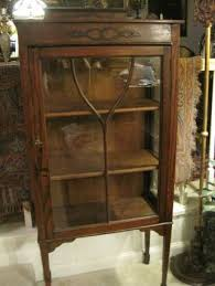 english antique display cabinet. Vintage English Oak Petite Curio China Display Cabinet Spade Legs Old Quality Photo Antique
