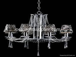 mec0467 modern european crystal chandelier with flower fabric lampshape 1