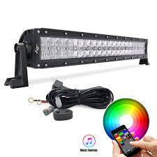22 120w rgb 5d lens light bar combo beam with wiring app control led