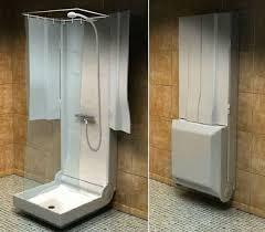 folding shower idea for compact bathroom