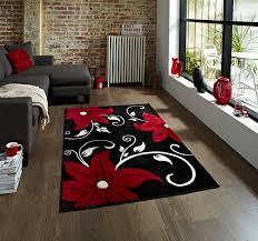 black red fl hand carved effect rug 100