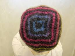 Felted Wool Designs K 3 Toddlers Striped Multicolored Hand Knit Beanie Style Felted Wool Hat