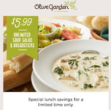 special lunch savings until friday october 21st enjoy the olive garden classic lunch combination of unlimited homemade soup