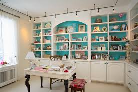 her caribbean blue accented office traditional home office blue home office