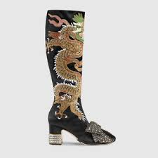 gucci 2017 shoes. dragon satin mid-heel knee boot gucci 2017 shoes