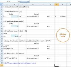 calculate cirference of a circle in excel