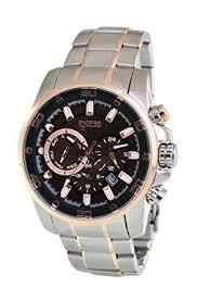exess mens wrist watch all stainless steel silver band and exess mens wrist watch all stainless steel silver band and case brown and gold dial