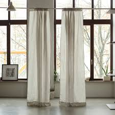 stone washed rod pocket linen curtain panel silver