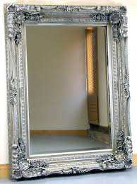 Carved Louis Silver Ornate French Frame Wall Over Mantle Mirror
