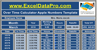 Overtime Calculation In Excel Format Download Overtime Calculator Apple Numbers Template