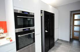 american fridge with pull out storage and aeg ovens