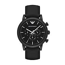 armani watches emporio armani designer watches ernest jones emporio armani men s ion plated black strap watch product number 4904192