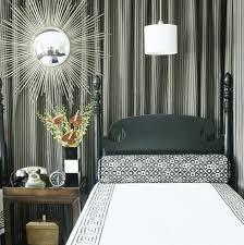bedroom curtains behind bed. Fantastic Modern Greek Key Bedroom! White Pendant Light, Silver Sunburst Mirror, Walnut Wood Nightstand Accent Table, Black Bedding, Bedroom Curtains Behind Bed