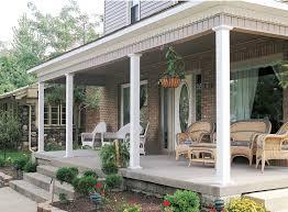 plain aluminum columns on a front porch