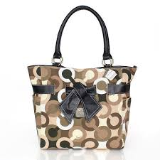 Coach Poppy Bowknot Monogram Medium Brown Totes CDE Outlet Online