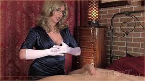 Mistress t satin gloves handjob