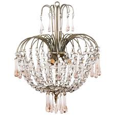vintage murano pink teardrop and crystal chandelier 1950s for