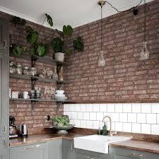 Bricks Wallpaper Kitchen Interior ...