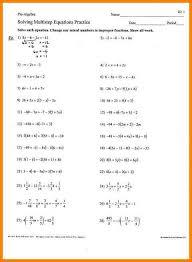 solving multi step equations answers algebra 1 multi step equations worksheets 3 jpg