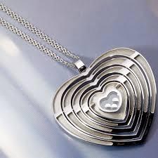 chopard happy diamonds 18k white gold large heart pendant necklace