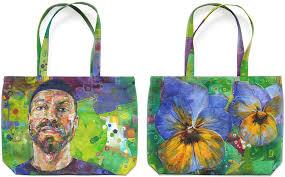 hand painted canvas bag david vanadia by new jersey artist gwenn seemel