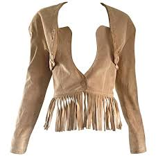 vintage jean claude jitrois tan beige leather suede fringe bustier jacket for