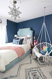 dark blue bedrooms for girls. Dark Blue Teenage Girl Room With Turquoise Velvet Bed, Macrame Hanging Chair And Colorful Moroccan Bedrooms For Girls L