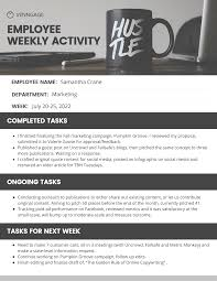 Simple Employee Weekly Report Template Venngage
