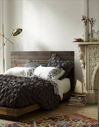interior, Amazing Pallet Bed Ideas Installed At Contemporary Bedroom  Enlightened By Vintage Curved Standing Lamp