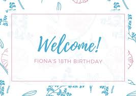 Welcome Card Templates Blue And Pink Floral Pattern Welcome Card Templates By Canva