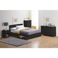 alcove Full Platform Bed with Storage Drawers - Black
