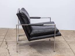 mid century modern milo baughman chrome leather chair for